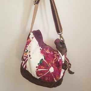 Lucky Brand Floral Canvas/Leather Tote Bag